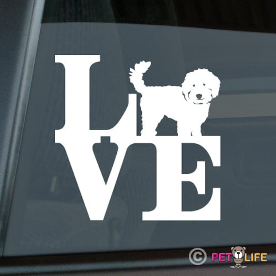 v2 doodle Love Labradoodle Sticker Die Cut Vinyl