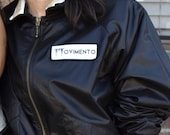 MOVIMENTO-Apparel Ready To Ship quot Blackout Bomber quot Womens Black Nylon Jacket W Heather Grey Lining Made Fair Trade In DTLA (Free Shipping)