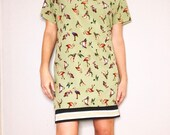 MOVIMENTO-Apparel Ready To Ship quot Birds Of Prey quot Women 39 s Viscose Cotton Bird Print Mini Dress Made Fair Trade In DTLA (Free Shipping)