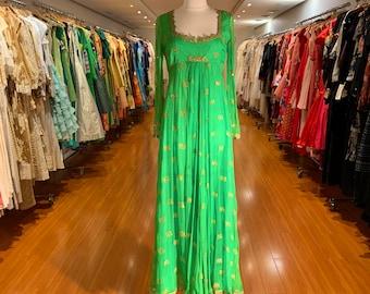 1970's Silk Green Sequins Empire Waist Maxi Dress