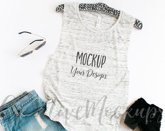 Download Free White Marble Muscle Tank Mockup with black boots/ Bella + Canvas Muscle Tank top Mockup B8803 / Flat Lay Mockup PSD Template
