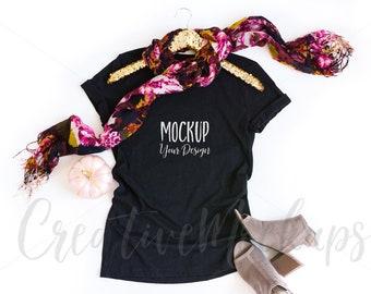 Download Free Fall Black Shirt Bella Canvas Mockup 3001 / Bella Canvas Mockup with Gold Hanger / Flat Lay Feminine Mockups PSD Template