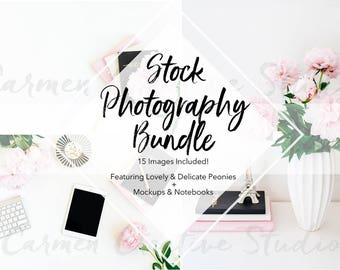 Download Free Peonies Styled Stock Photography Bundle / Pink and Black Branding Photo Bundle / Social Media Graphic Bundle PSD Template