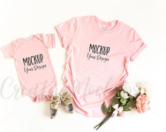 Download Free Bella and Canvas Pink Mommy and Me Shirt & Bodysuit Mockup 3001 + 100B / Flat Lay Shirt Mockup / Mommy and Gender Neutral Mockup PSD Template