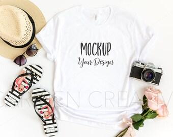 35935e61c Bella + Canvas White Unisex Shirt Mockup 3001   Bella Canvas Travel Style  Shirt Mockup   Flat Lay Shirt Photo with Flip Flops