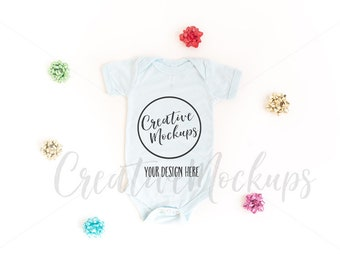 Download Free Bella and Canvas Christmas Ice Blue Triblend Bodysuit Mockup / Baby Boy Bodysuit Mockup / Festive Bodysuit Mockup PSD Template