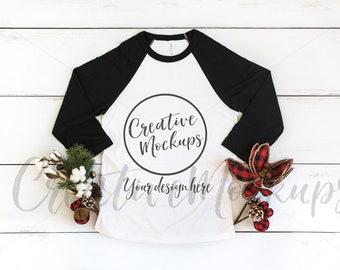 Download Free Bella and Canvas Christmas Black Raglan Shirt Mockup 3200 / Holiday Red Unisex 3/4-Sleeve Baseball / Unisex Holiday Mockups PSD Template
