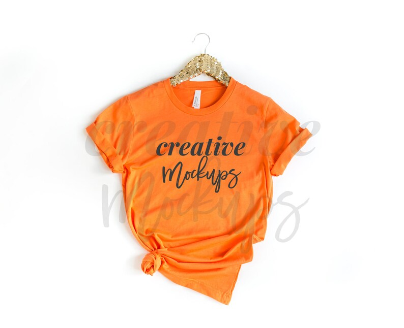 Bella Canvas Orange Shirt Mockup 3001  Feminine Flat Lay Shirt with Side Knot /& Gold Hanger  Year Round Mockups  1 JPG Photo Download