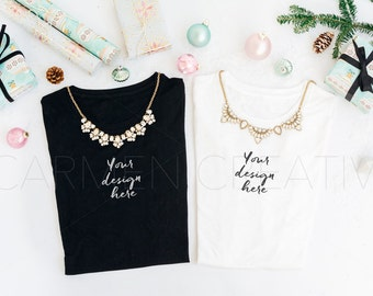 Christmas T-Shirt Mockups / Black and White T-shirt Mockups / Product Photography / Instant Download!