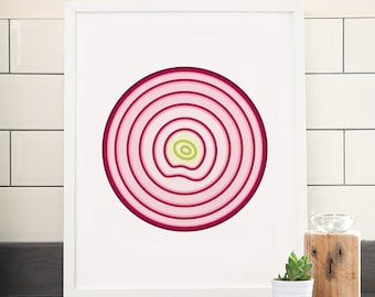 Red onion print – Fruit and vegetable prints – Kitchen art – Kitchen print – Food art – Food print – Illustration – Wall art – Home decor