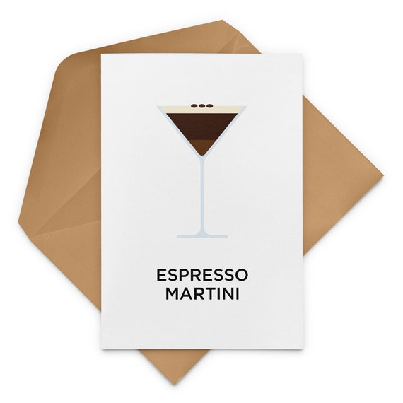 Espresso Martini Cocktail Recipe Greeting Card Etsy