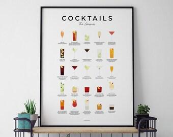 Classic Cocktails Print, Cocktails Poster, Cocktails Art, Cocktail Gifts, Cocktail Lover Gift, Cocktail Guide, Cocktail Menu, Kitchen Art