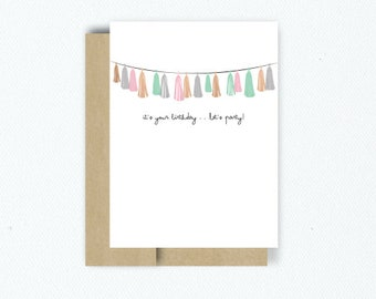 """Garland """" It's Your Birthday . . . Let's Party"""" Birthday Greeting Card w/ Rose Gold Foiling"""