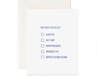 Birthday Checklist Greeting Card w/ Blue Foil