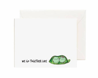 """Peas in a Pod """" We go Together Like"""" Valentine's Day Greeting Card"""