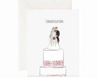 "Cake Topper ""Congratulations"" Wedding Greeting Card"
