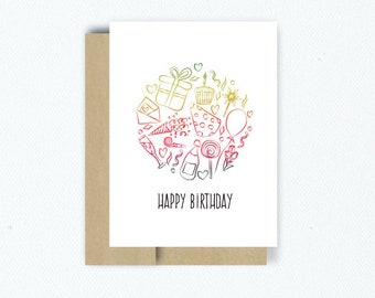 "Rainbow Foiled Birthday Icons ""Happy Birthday"" Greeting Card"