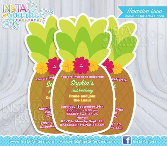 Invitaciones Luau Piña Fiesta Hawaiiana Hawaiana Imprimible Etsy