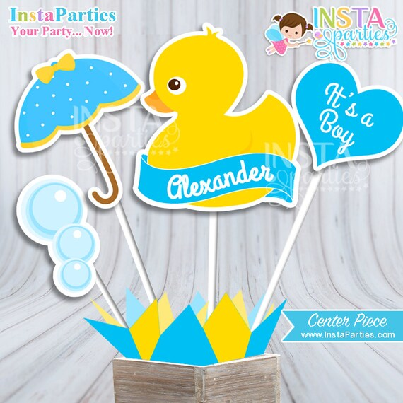 Rubber Ducky Baby Shower Centerpiece Baby Shower Boy Decor Etsy