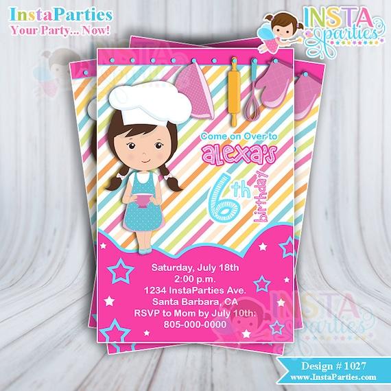 Invitaciones CHEF pastelera niña invitación imprimible 4x6