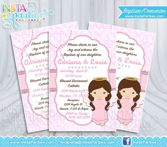 Invitaciones Bautizo Niña Invitación Primera Comunión Niña Elegante Imprimible Digital Confirmación Hermanas