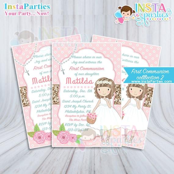 c1190abca665f Invitaciones Primera Comunión niña rosa dorado oro Imprimible