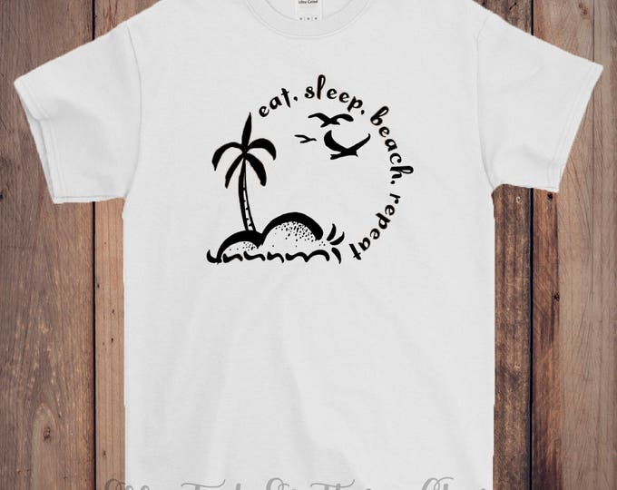 Monogram vinyl T-shirts Customize Short sleeve Eat Sleep Beach Repeat