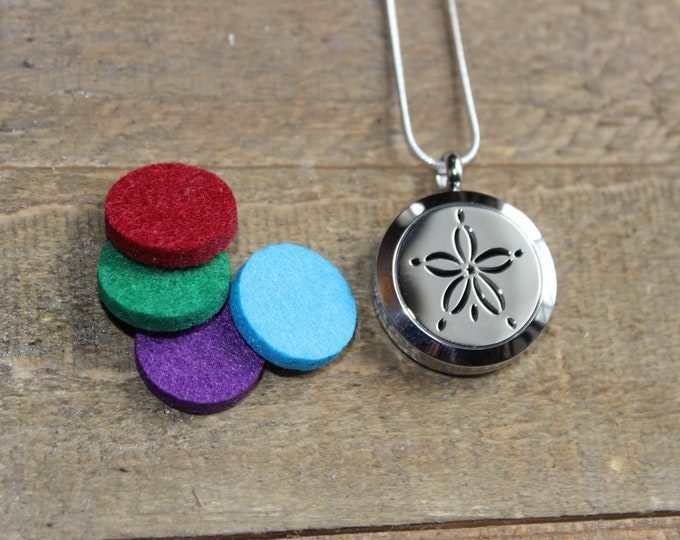 Essential Oil Diffuser Locket | Stainless Steel Locket | Diffuser Necklace | Essential Oil locket | Sterling Silver Chain | ESC Sanddollar
