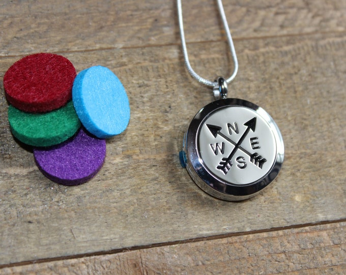 Essential Oil Diffuser Locket | Stainless Steel Locket | Diffuser Necklace | Essential Oil locket | Sterling Silver Chain | ESC Compass