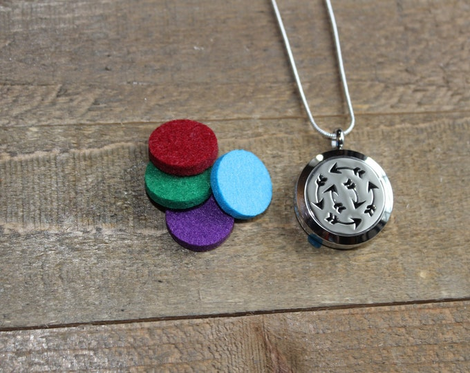Essential Oil Diffuser Locket | Stainless Steel Locket | Diffuser Necklace | Essential Oil locket | Sterling Silver Chain | ESC Crazy Arrows