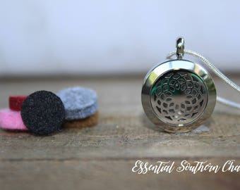 Essential Oil Flower Diffuser Necklace Stainless Steel locket Sterling Silver Chain 20mm