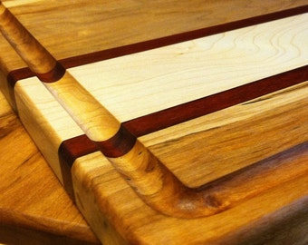 Maple cutting board with accents   striped maple cutting board   maple and padauk cutting board