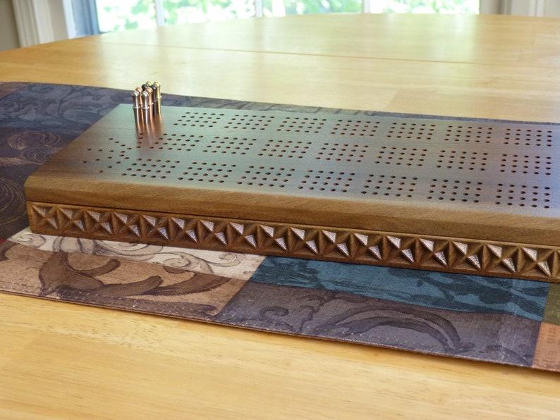 4 track wooden Cribbage board with storage | walnut Cribbage board