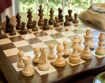 Wooden chess set | walnut board with solid border | walnut and maple chess board