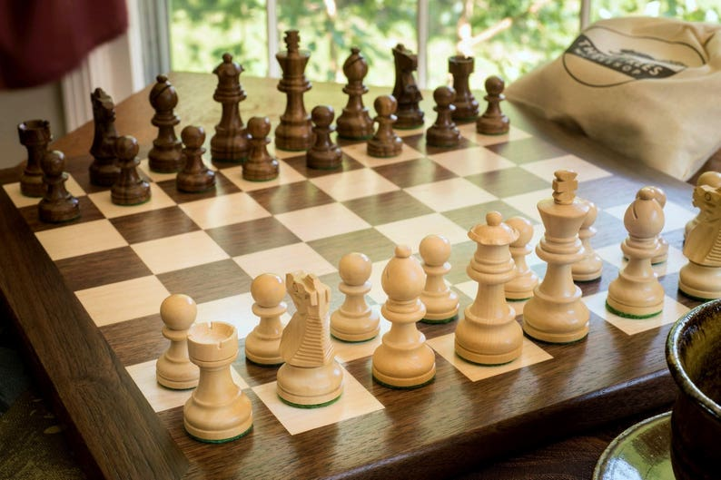 Wooden chess set   wooden chess board with solid walnut border   walnut and  maple chess board