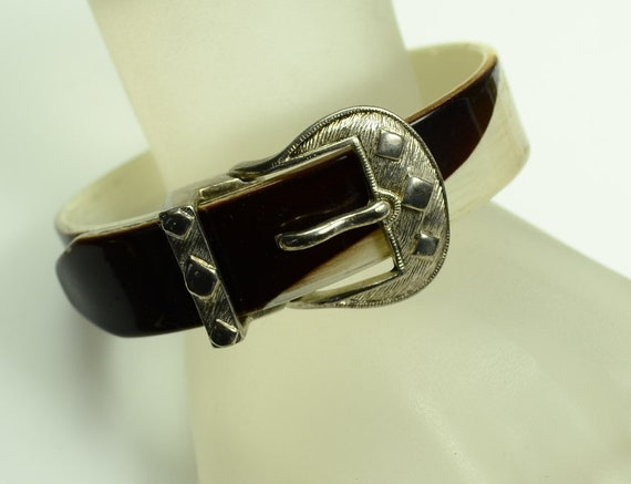 Celluloid Bangle Bracelet with Western Style Silve