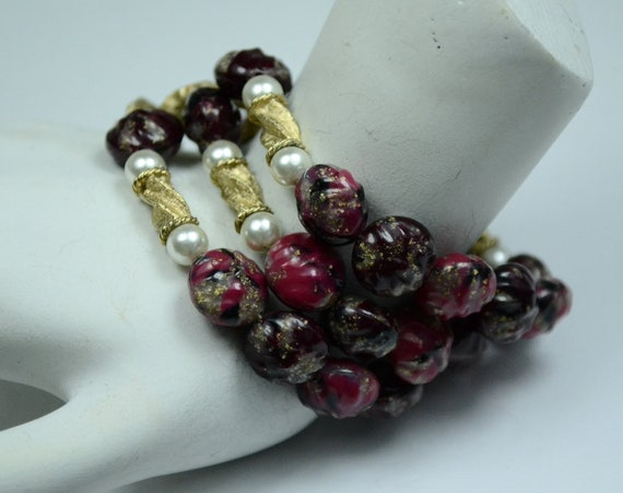 Kramer Three-row Beaded Bracelet w/Faux Pearls and
