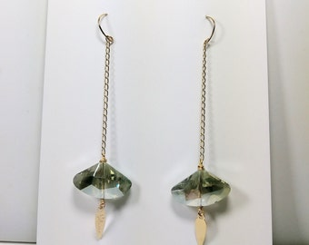 One Cat/'s Eyes Gray  Crystal in a long 18K Gold Filled  Chain hanging from a Gold Filled Wire Hook