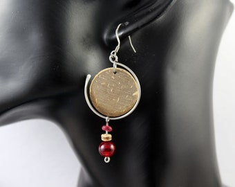 Surgical steel earrings, glass Pearl and wood beads
