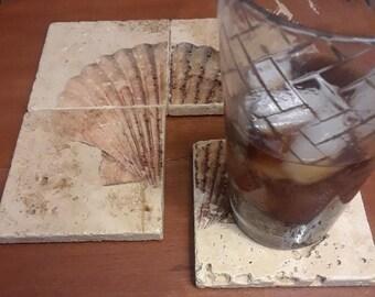 Scallop - Set of 4 Travertine Stone Coasters