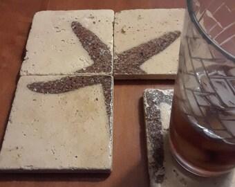 Starfish - Set of 4 Travertine Stone Coasters