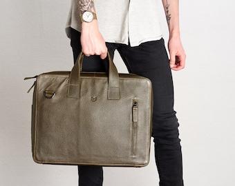 a42cba44dfaa Dark Brown Leather Briefcase Men Attache Portfolio Messenger | Etsy
