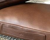 Brown Leather Meditation Cushion Men, Travel Yoga Pillow Chair, Floor Zafu Bench, Carry Portable Mindfulness Set. Custom Monogram Gift