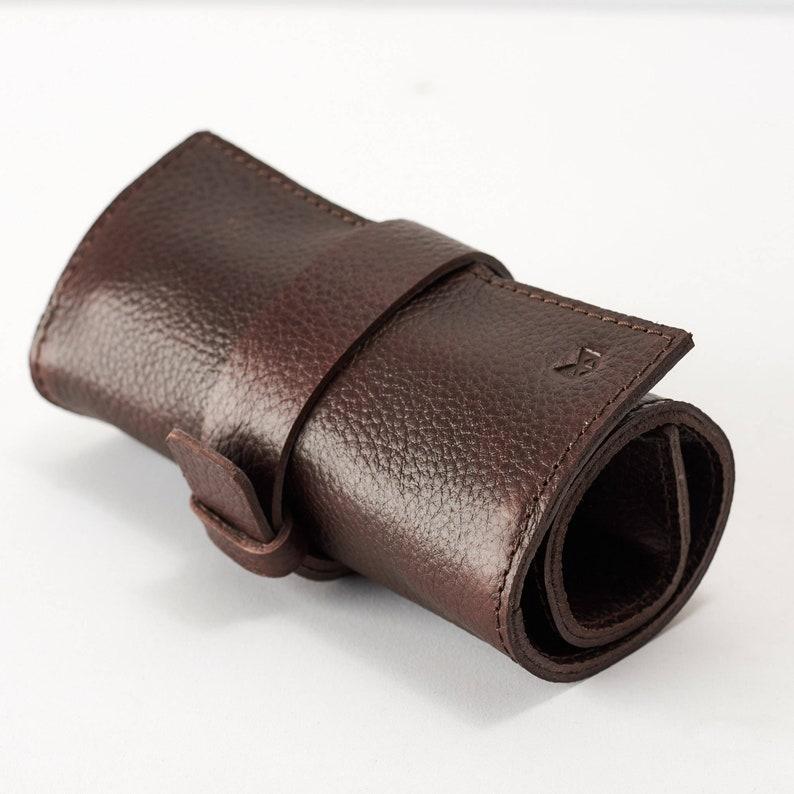 721d675f92 Dark Brown Leather Watch Roll 2-6 Watches Men Travel Watch