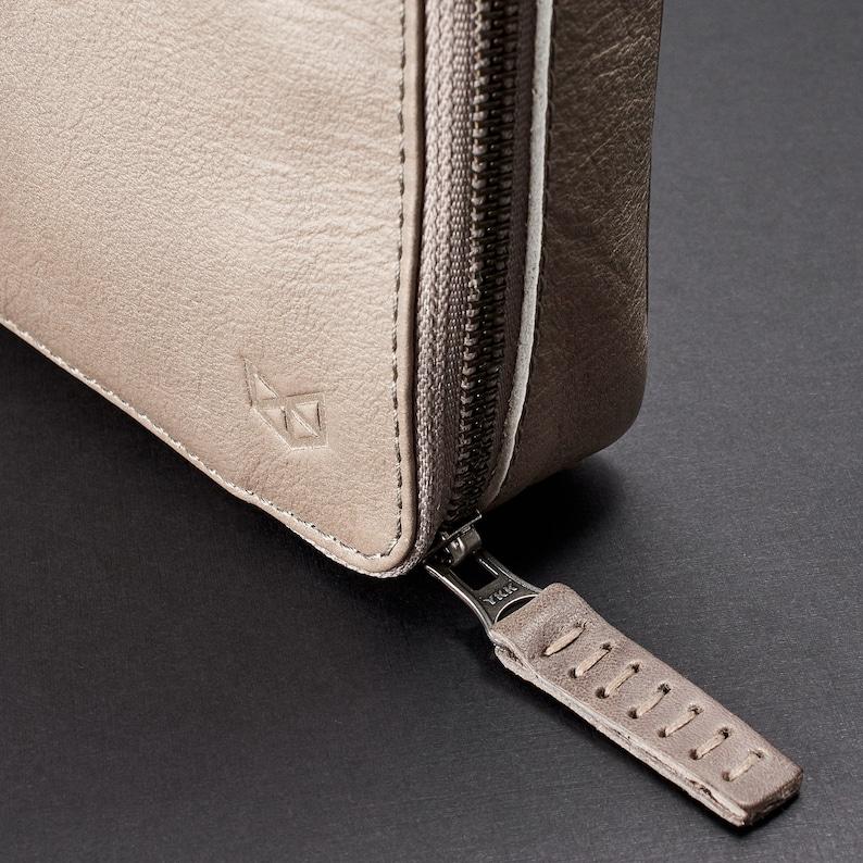 Tech Gift Men Grey Leather Travel Laptop Bag Men Custom Monogram Accessory Storage iPad Macbook Portfolio Gadget Cable Organizer