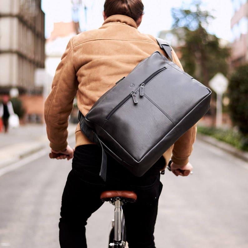2d7fcea2ad08 Black Leather Shoulder Bag Handmade Satchel Men Crossbody