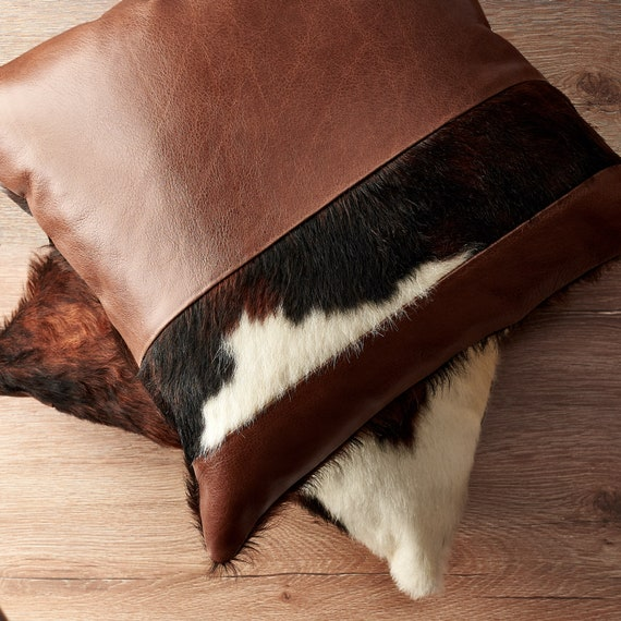 Brown Leather Cushion Men Outdoor Throw Pillow Cover Handmade Etsy