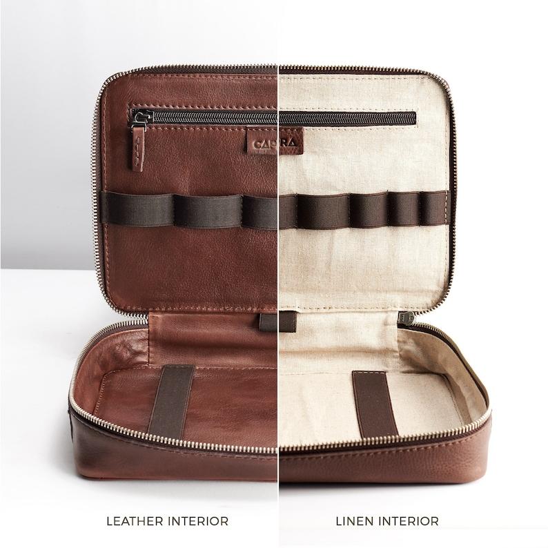 Brown Leather Travel Tech Organizer Men iPad Case  95e6e52b4e6db