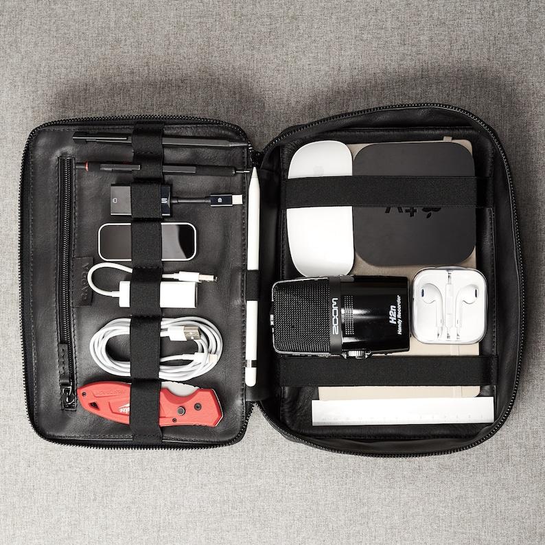 Black Leather Travel Tech Organizer Men iPad Case  83c8979484dca