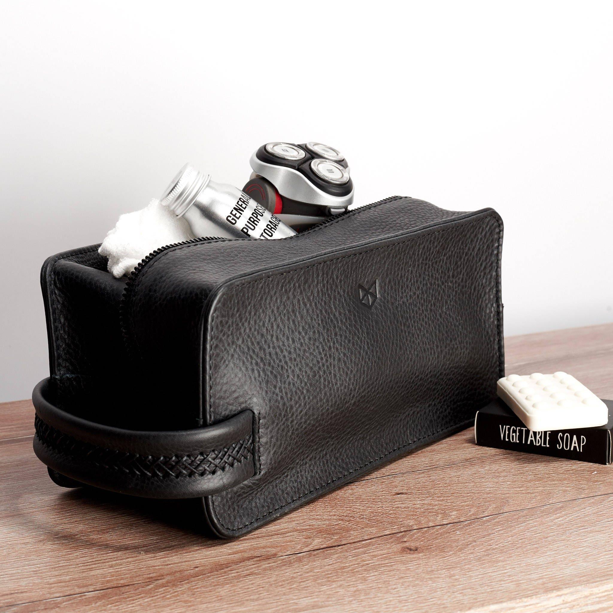 Black Leather Toiletry Bag Men Handmade Travel Dopp Kit Wash  3ce9ef9b12005
